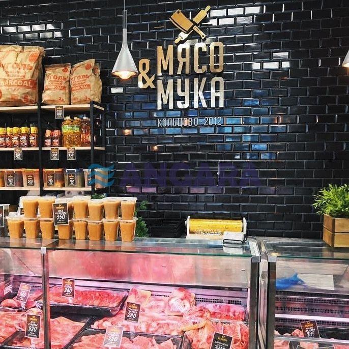 Внутреннее оформление мясного магазина - объёмные несветовые буквы