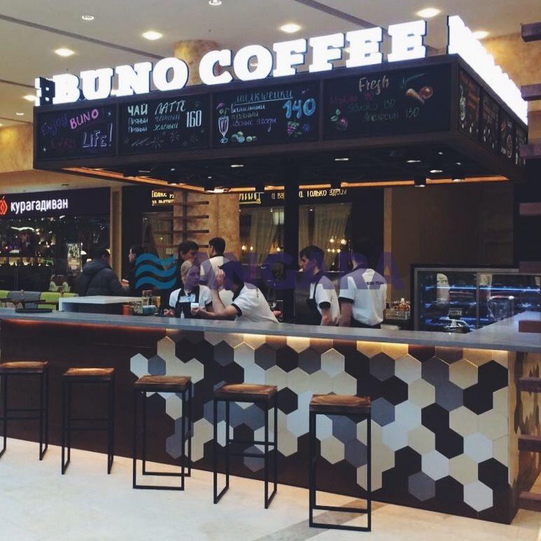 Световые объёмные буквы для кофейни Буно Кофе