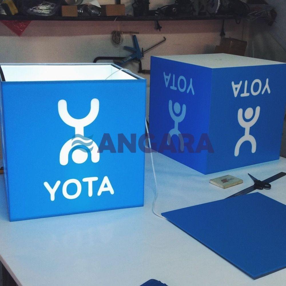 Четырехстороний световой короб для магазина Йота